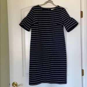 Loft bell sleeved dress. Small Tall. Blue &white